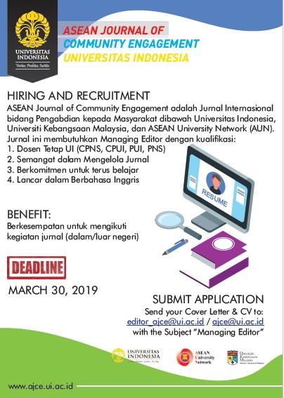 Lowongan Managing Editor Journal For Asean Journal Of Community Engagement Fakultas Teknik Universitas Indonesia